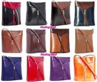 Handbag Bliss Vera Pelle Italian Leather Zip Fronted Feature Cross Body Shoulder Bag Handbag
